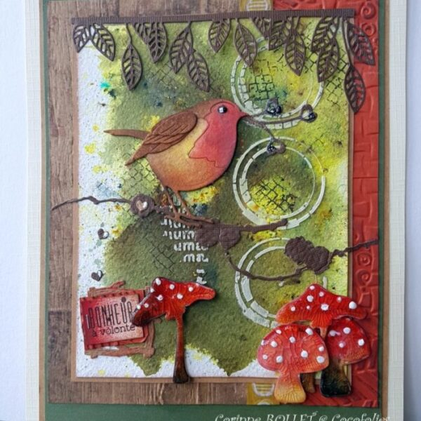 Carte aux pigments de poudre et encres aquarellables, tampons, embossage...