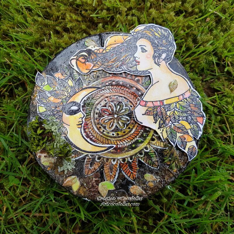Boîte à camemberts peinte et décorée à la main