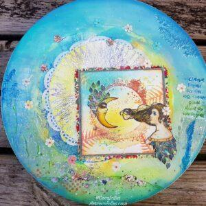 Peinture sur toile arrondie, dialogue avec la lune, thème poétique. Techniques mixtes. Création @ Art Cocofolies