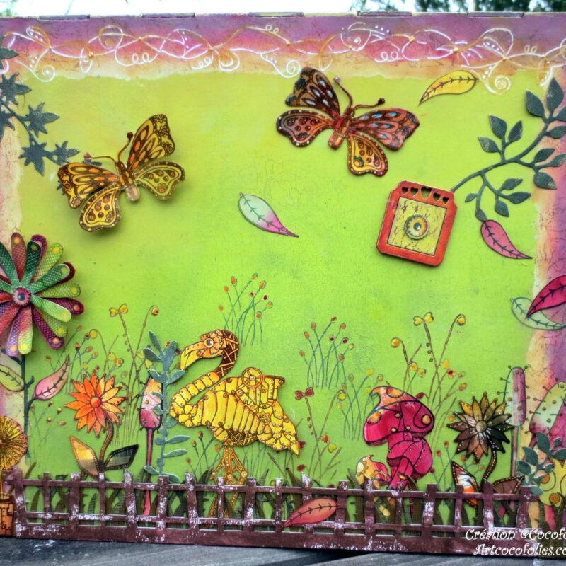 Scène peinte sur boite à peinture