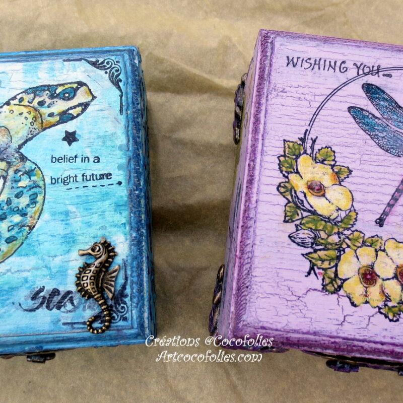Deux boîtes en bois thème floral et marin