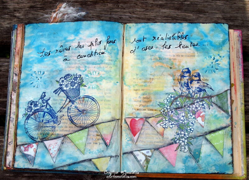 Page d'Art journal Encres, tampons et collages