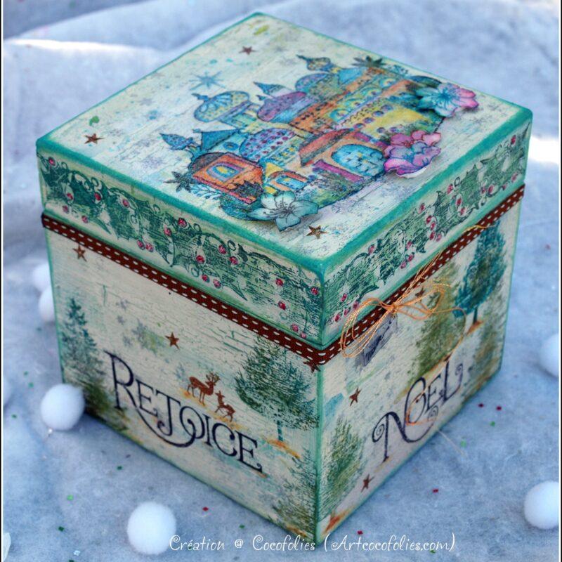 Village oriental en hiver - boîte en bois peinte à la main