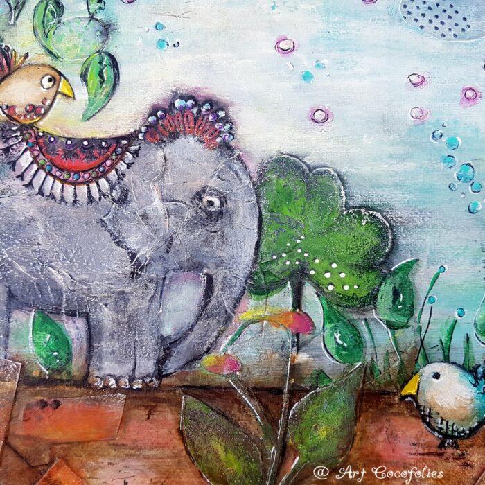 tableau-mixedmedia-techniquesmixtes-elephant-oiseaux-Drolederencontreunsoirdete-details