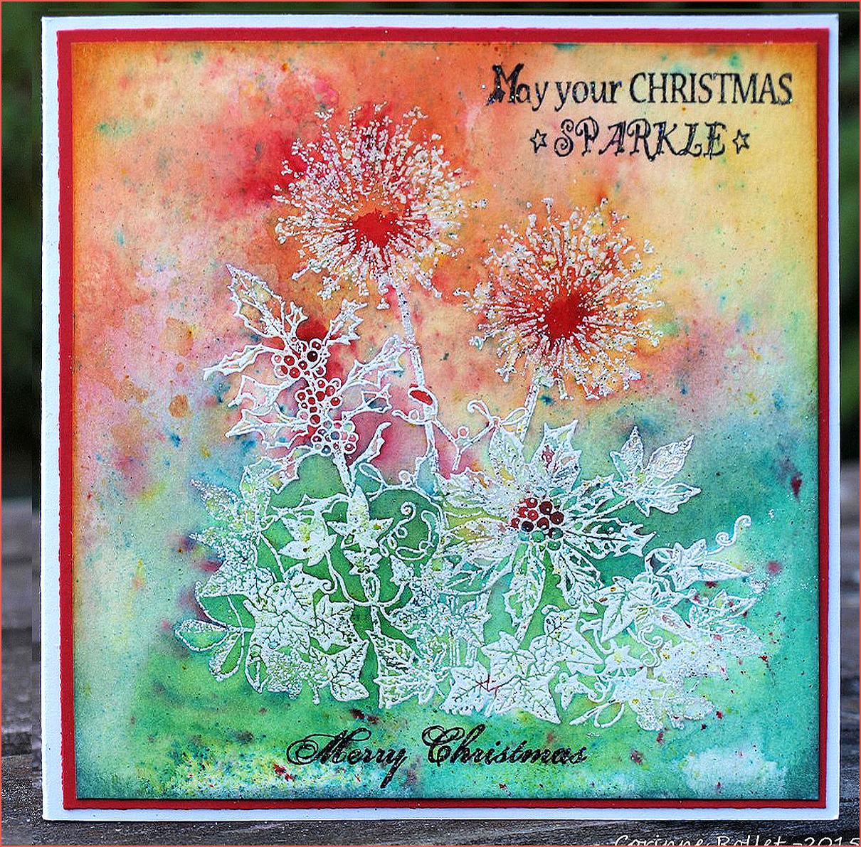 Carte florale hivernale sur fond de brushos, par cocofolies pour Crafty Individuals