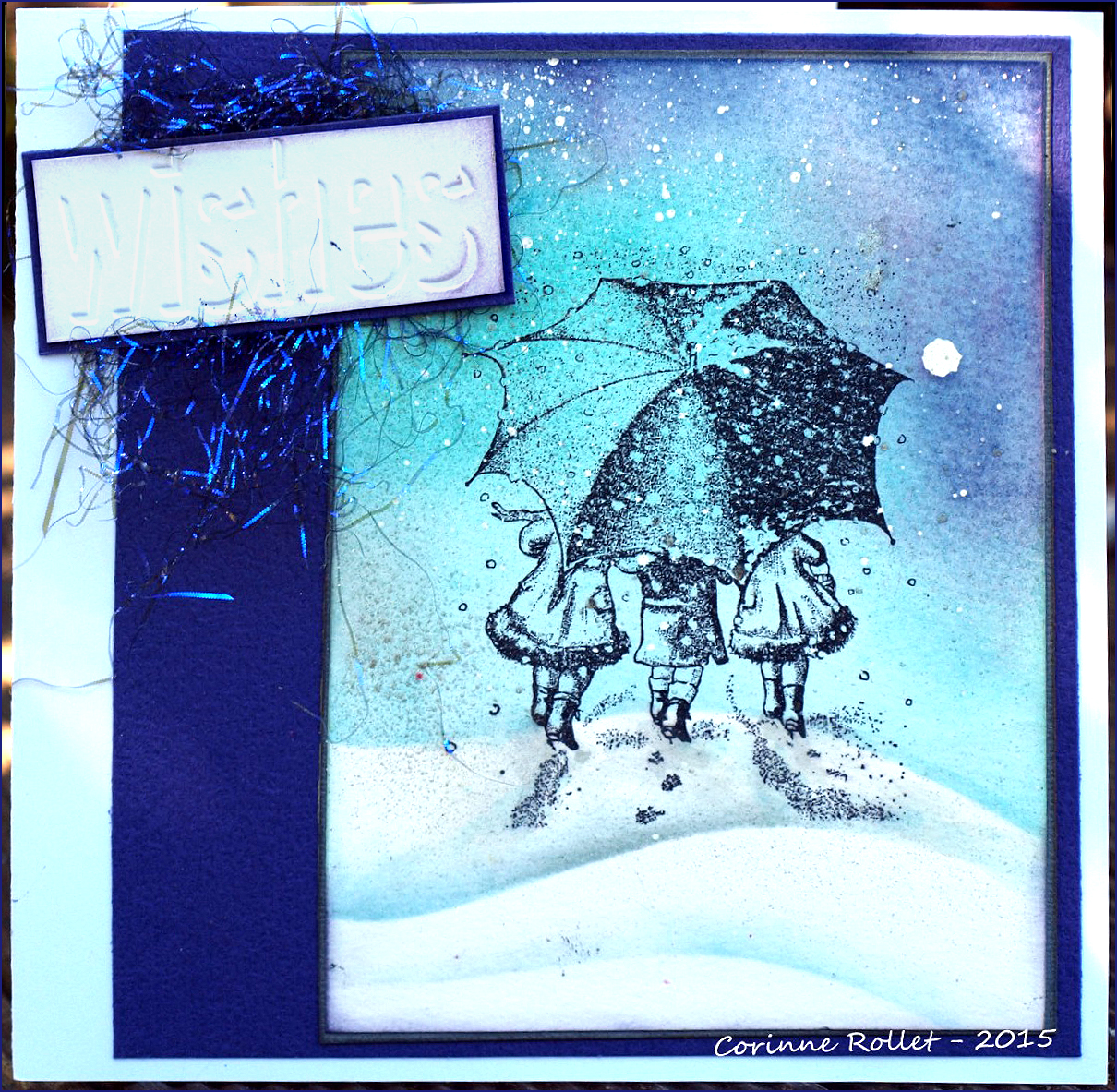 Petites filles dans la neige... Carte douce aux encres pour Crafty Individuals, par Cocofolies